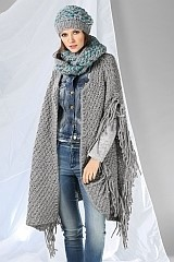 damen poncho cape gestrickt mit wolle und garn von. Black Bedroom Furniture Sets. Home Design Ideas
